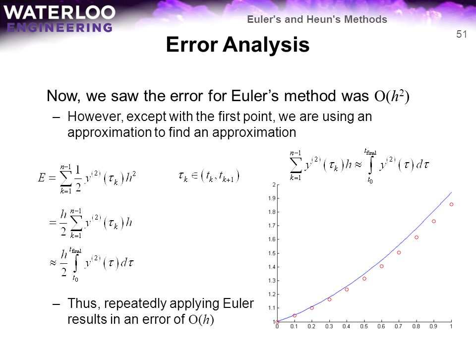 Error Analysis Now, we saw the error for Euler's method was O(h2)