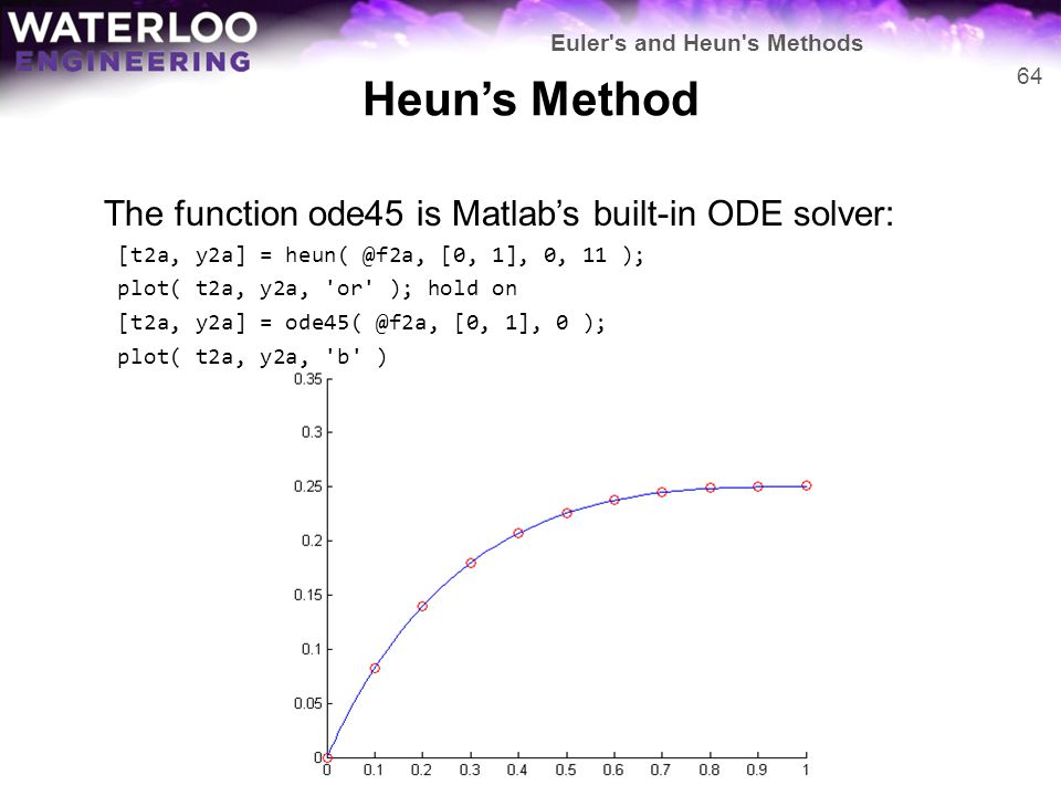 Heun's Method The function ode45 is Matlab's built-in ODE solver: