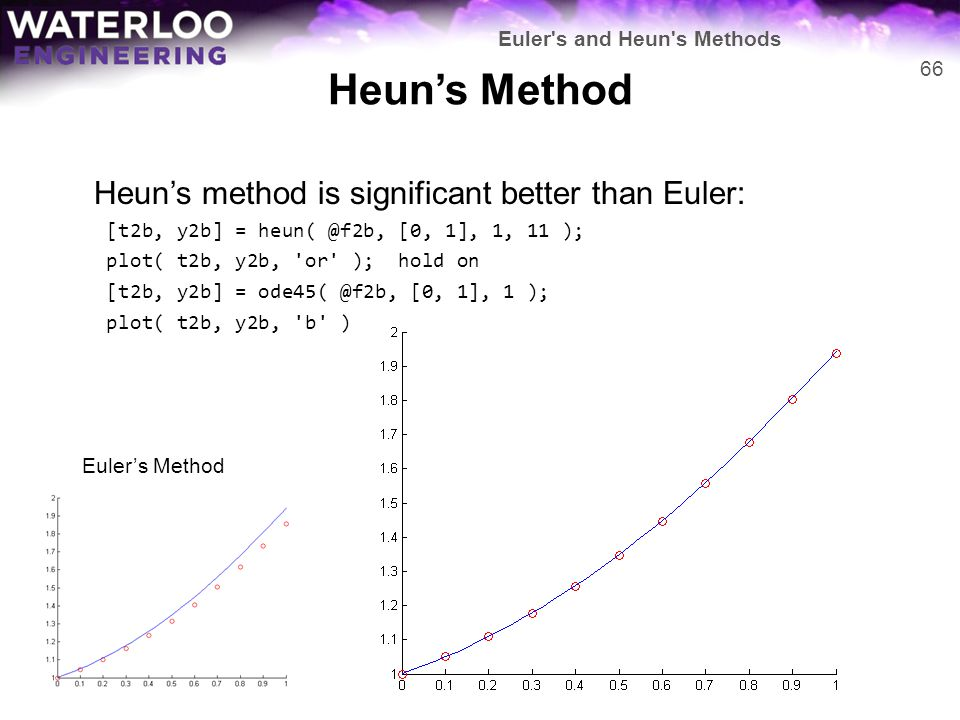 Heun's Method Heun's method is significant better than Euler: