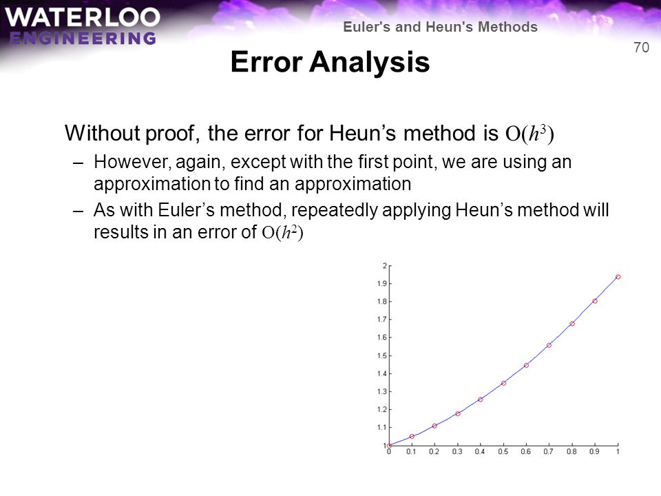 Error Analysis Without proof, the error for Heun's method is O(h3)
