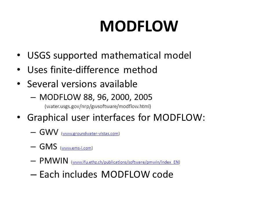 MODFLOW USGS supported mathematical model
