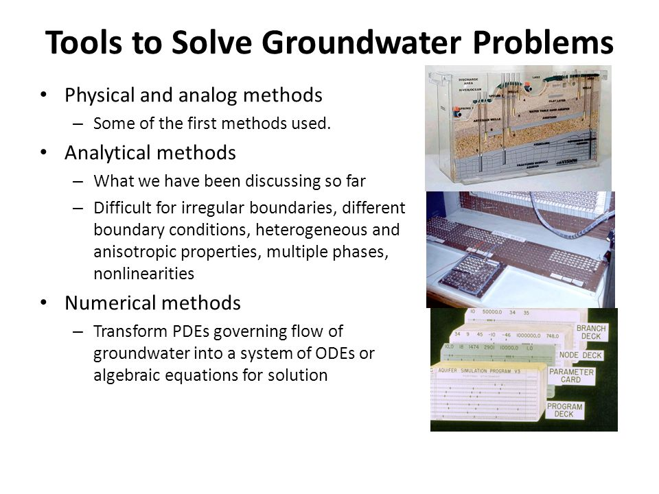 Tools to Solve Groundwater Problems