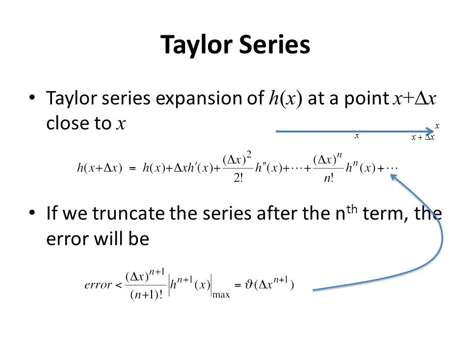 Taylor Series Taylor series expansion of h(x) at a point x+Dx close to x.