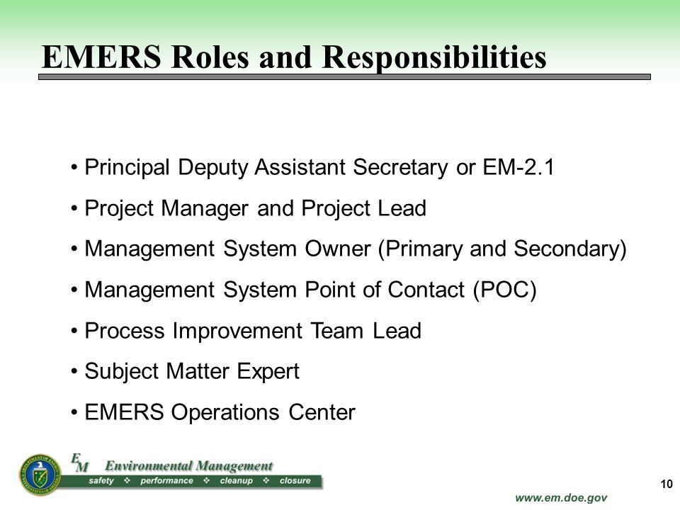 EMERS Roles and Responsibilities