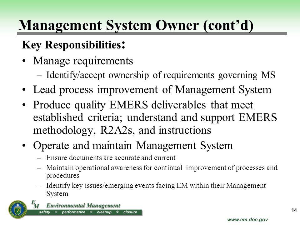 Management System Owner (cont'd)