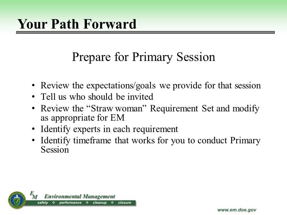Prepare for Primary Session