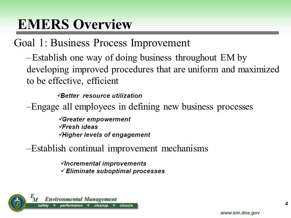 EMERS Overview Goal 1: Business Process Improvement