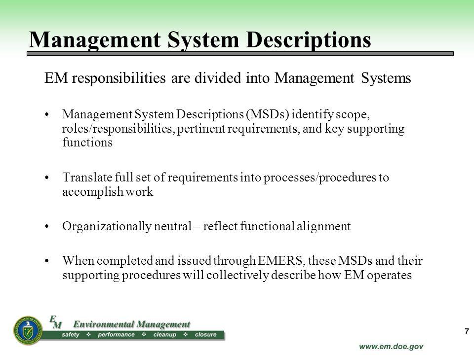 Management System Descriptions