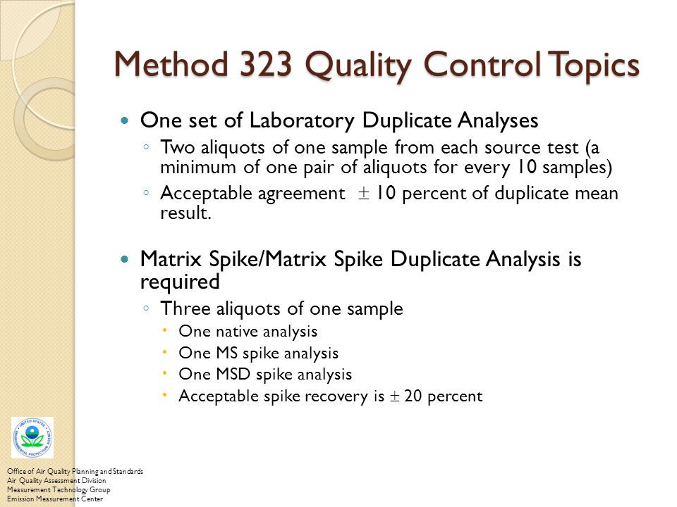 Method 323 Quality Control Topics
