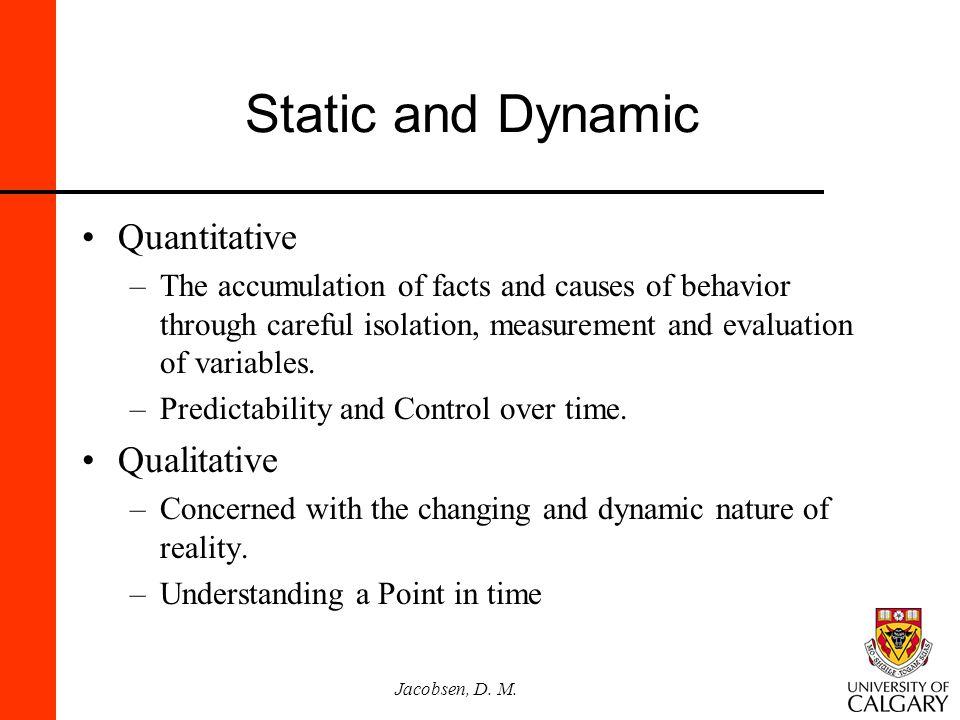 Static and Dynamic Quantitative Qualitative