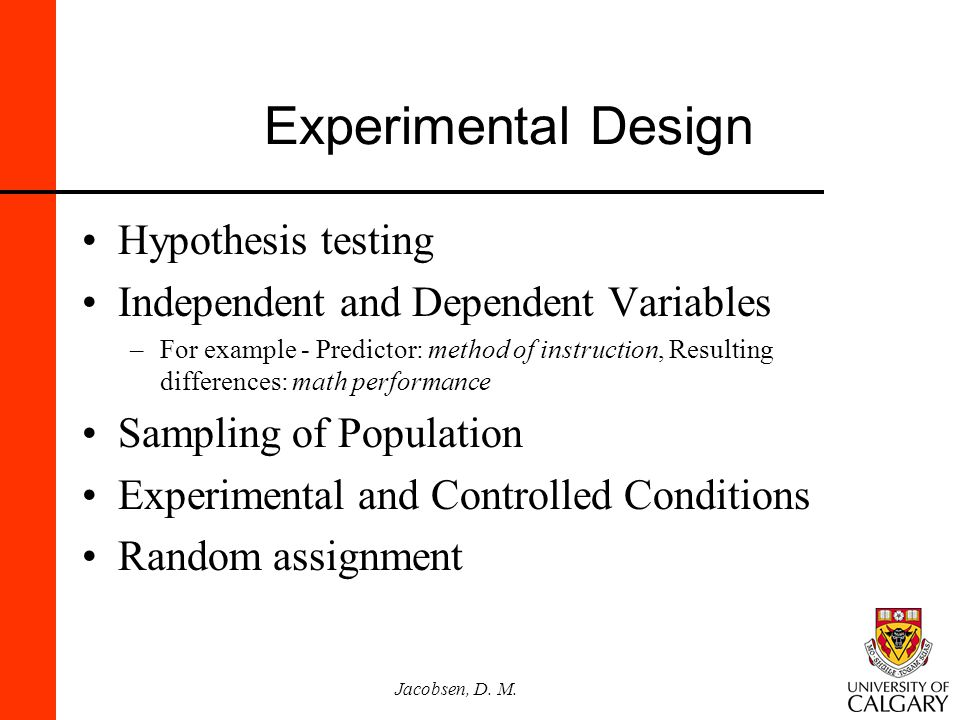 Experimental Design Hypothesis testing