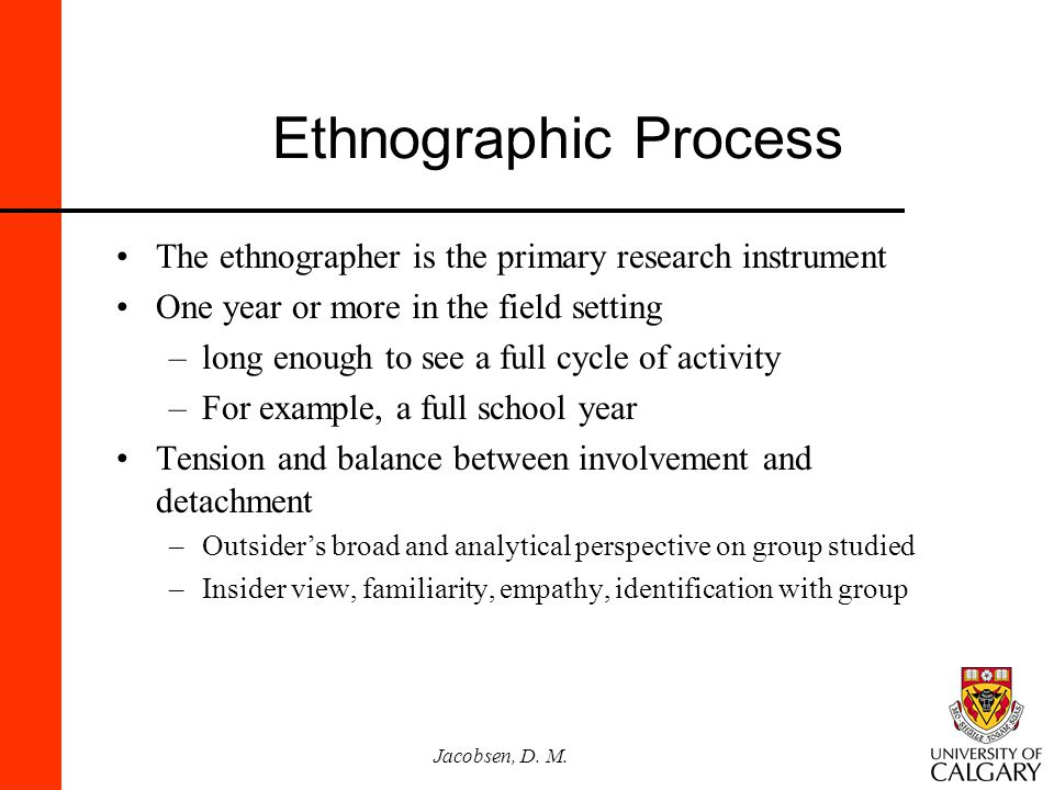 Ethnographic Process The ethnographer is the primary research instrument. One year or more in the field setting.