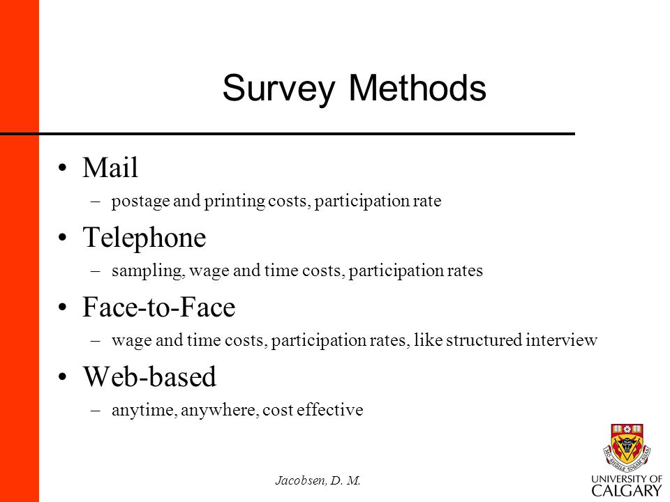 Survey Methods Mail Telephone Face-to-Face Web-based