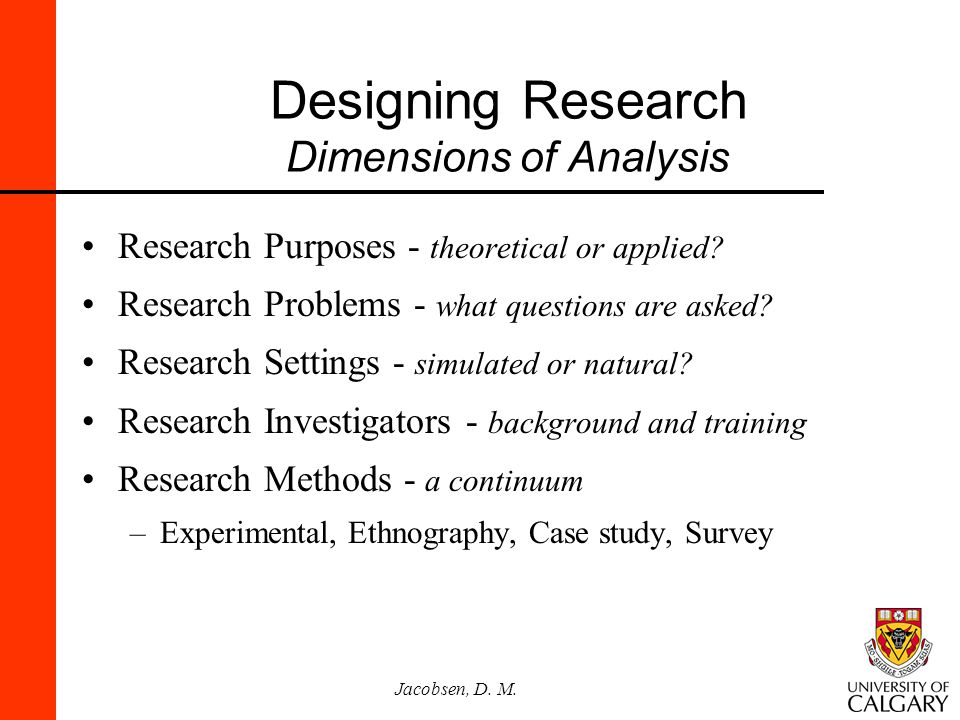 Designing Research Dimensions of Analysis