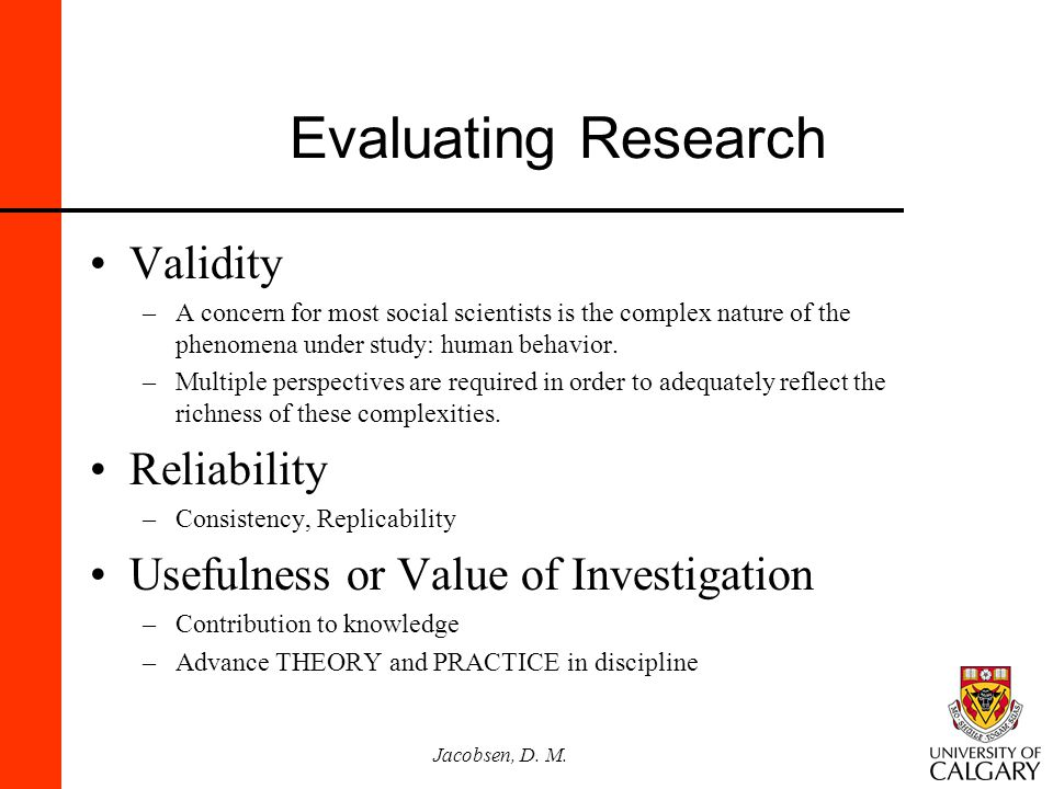 Evaluating Research Validity Reliability