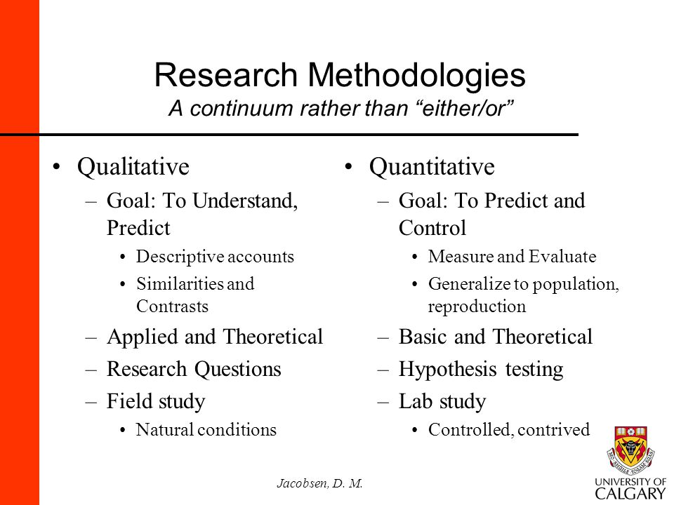 Research Methodologies A continuum rather than either/or