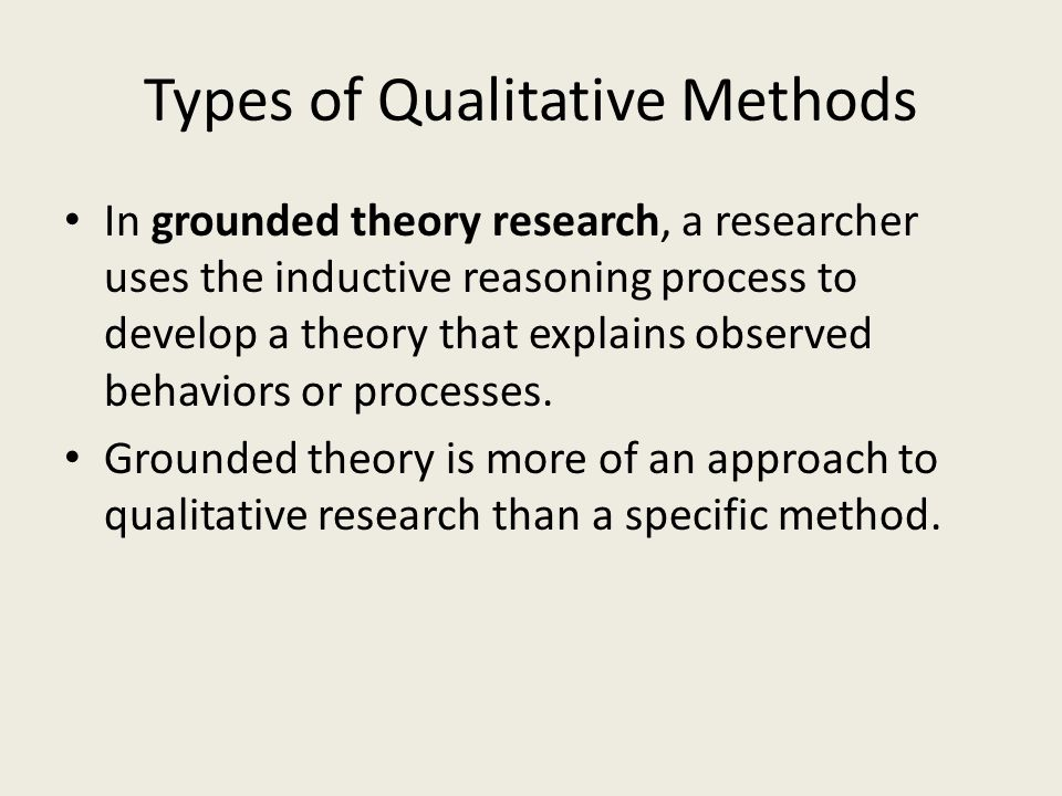 Types of Qualitative Methods