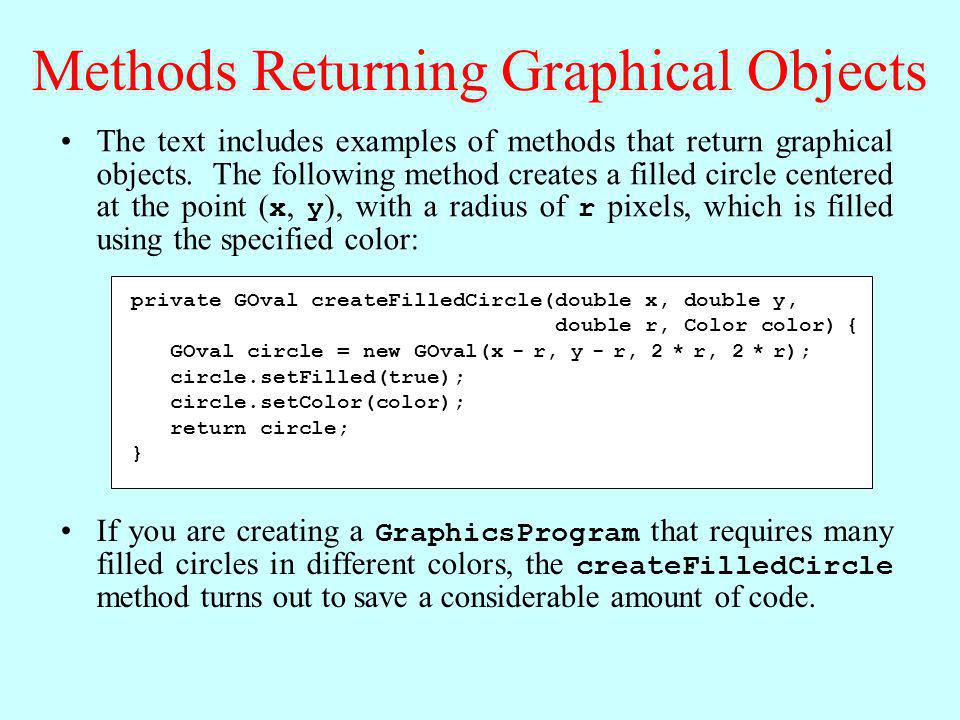 Methods Returning Graphical Objects