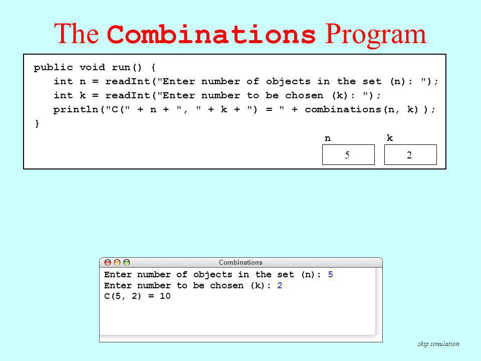 The Combinations Program
