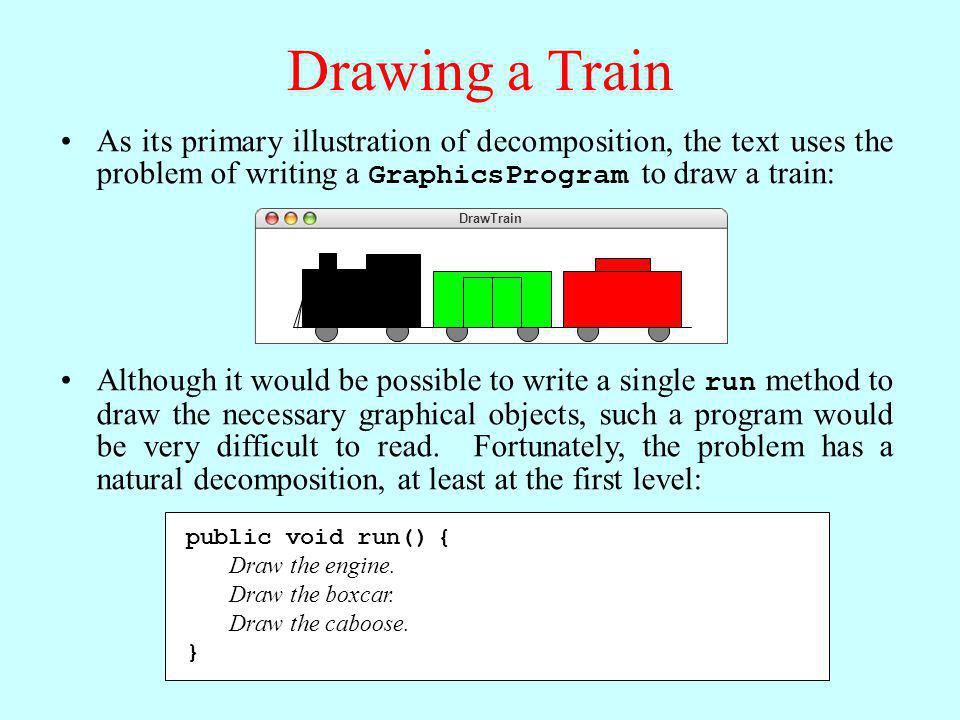 Drawing a Train As its primary illustration of decomposition, the text uses the problem of writing a GraphicsProgram to draw a train: