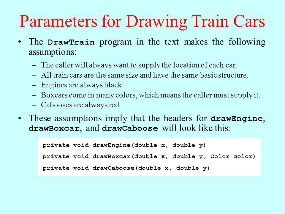 Parameters for Drawing Train Cars