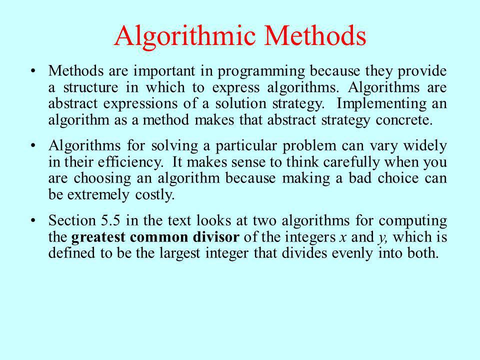 Algorithmic Methods