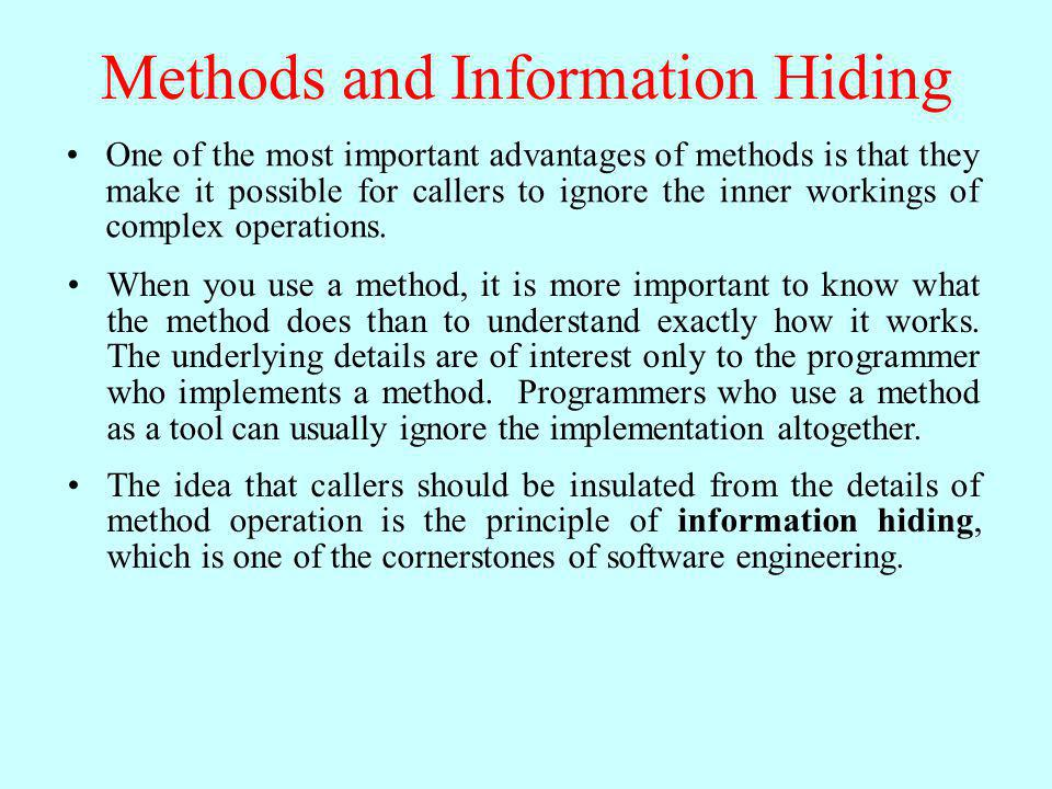 Methods and Information Hiding
