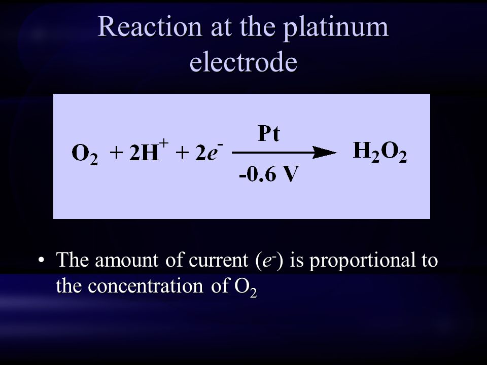 Reaction at the platinum electrode