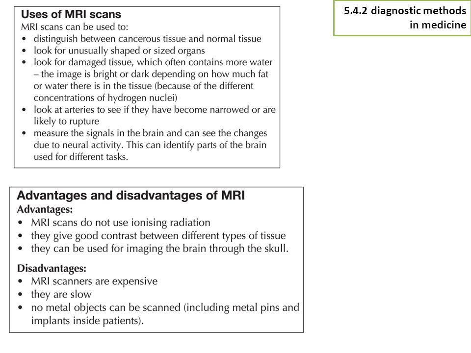 5.4.2 diagnostic methods in medicine