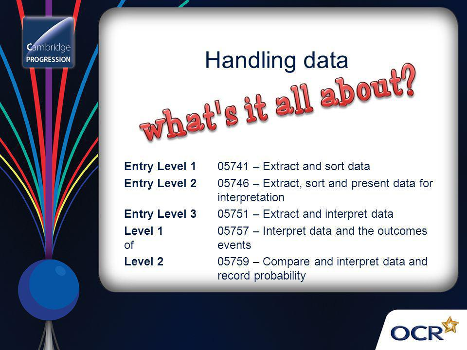 Handling data Entry Level 1 05741 – Extract and sort data