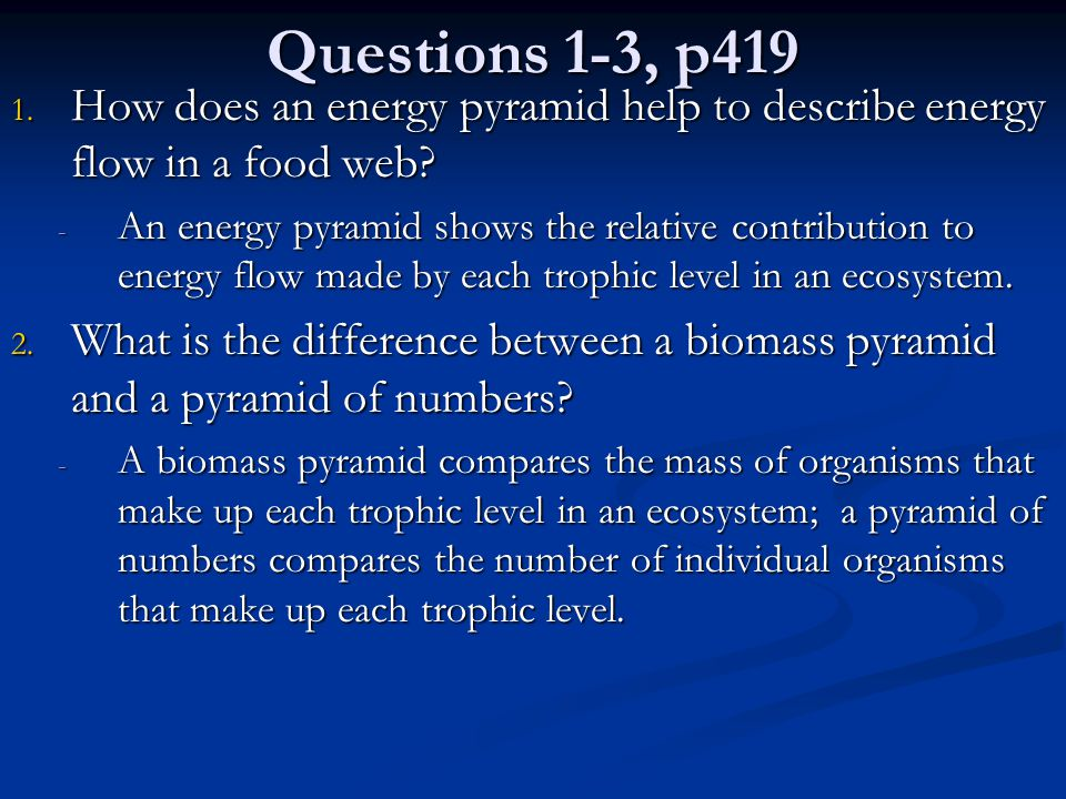 Questions 1-3, p419 How does an energy pyramid help to describe energy flow in a food web