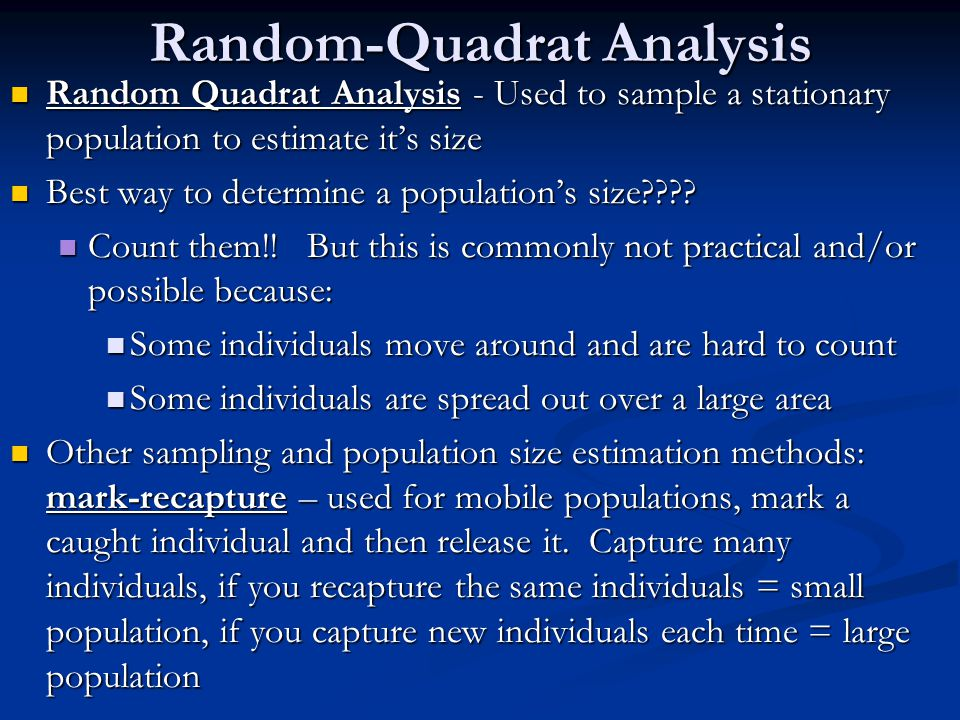 Random-Quadrat Analysis