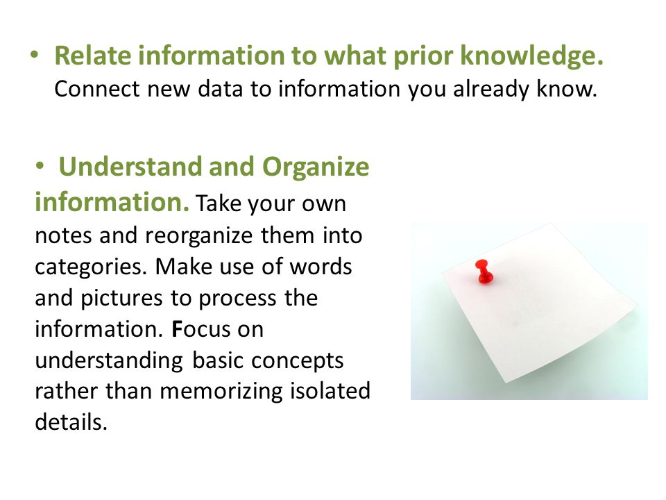 Relate information to what prior knowledge