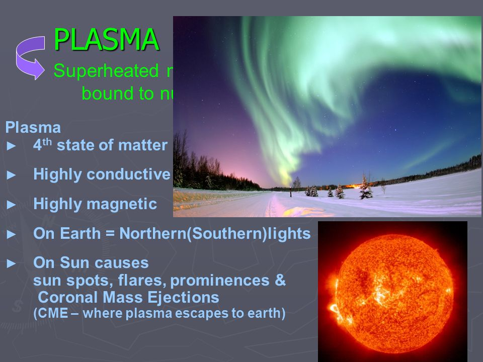 PLASMA Superheated matter where electrons are not bound to nucleus; free electrons & ions. Plasma.
