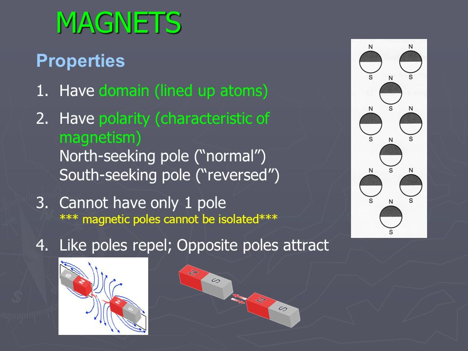 MAGNETS Properties Have domain (lined up atoms)