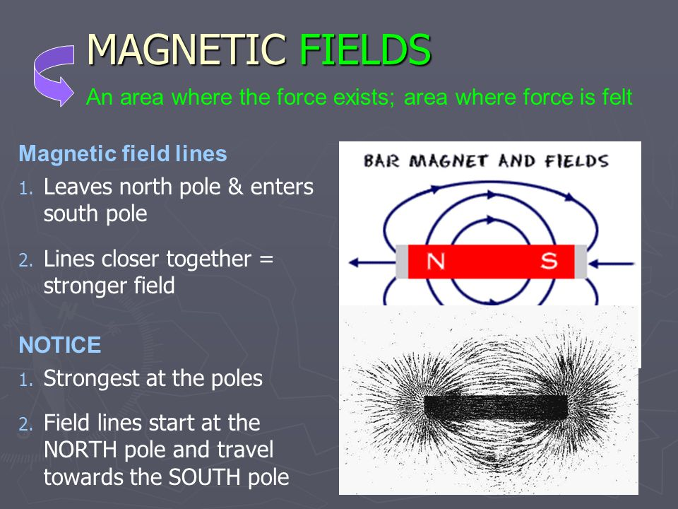 MAGNETIC FIELDS An area where the force exists; area where force is felt. Magnetic field lines. Leaves north pole & enters south pole.