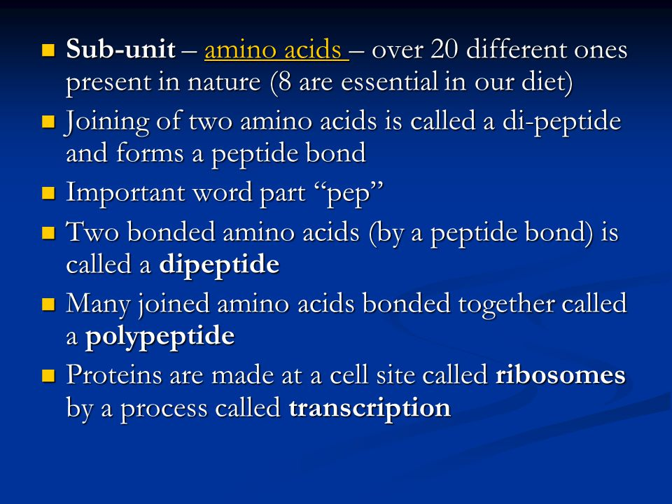 Sub-unit – amino acids – over 20 different ones present in nature (8 are essential in our diet)