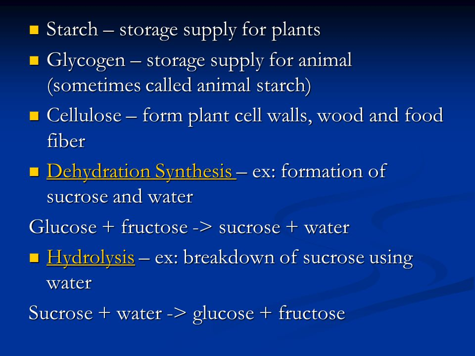 Starch – storage supply for plants