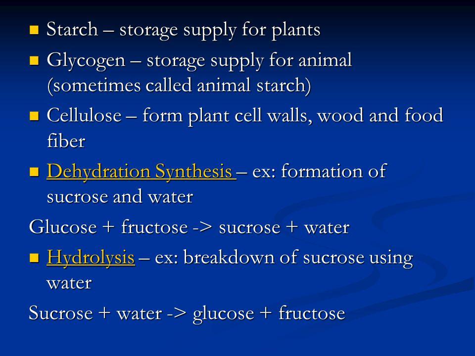 Starch – storage supply for plants