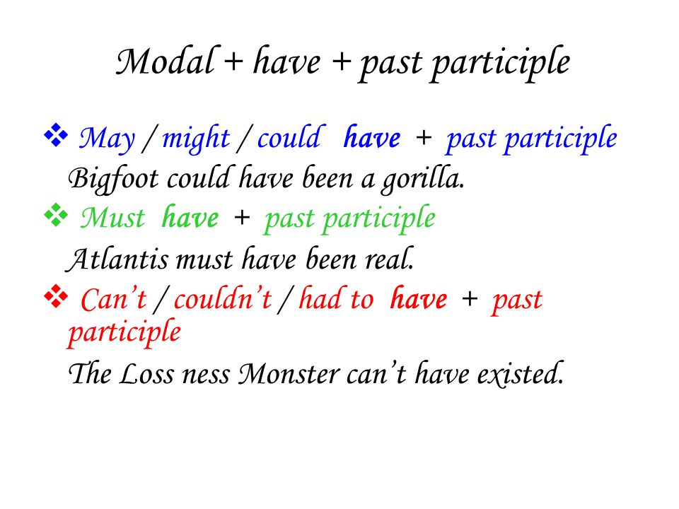 Modal + have + past participle