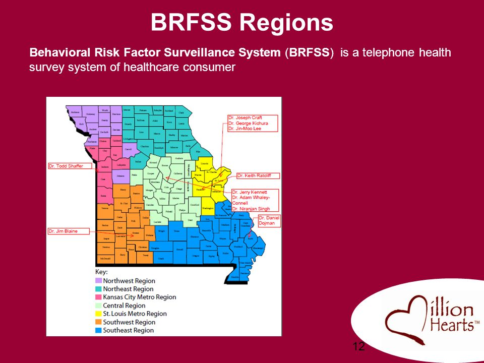 BRFSS Regions Behavioral Risk Factor Surveillance System (BRFSS) is a telephone health survey system of healthcare consumer.