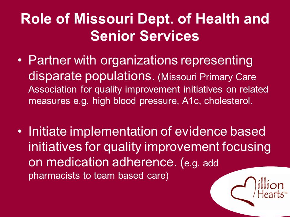 Role of Missouri Dept. of Health and Senior Services