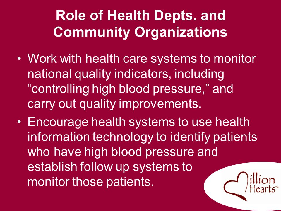 Role of Health Depts. and Community Organizations