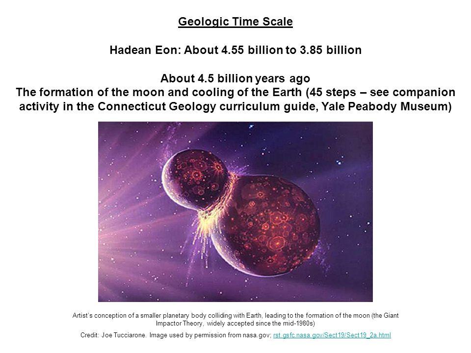 Hadean Eon: About 4.55 billion to 3.85 billion
