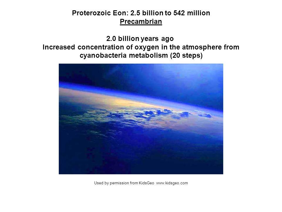 Proterozoic Eon: 2.5 billion to 542 million