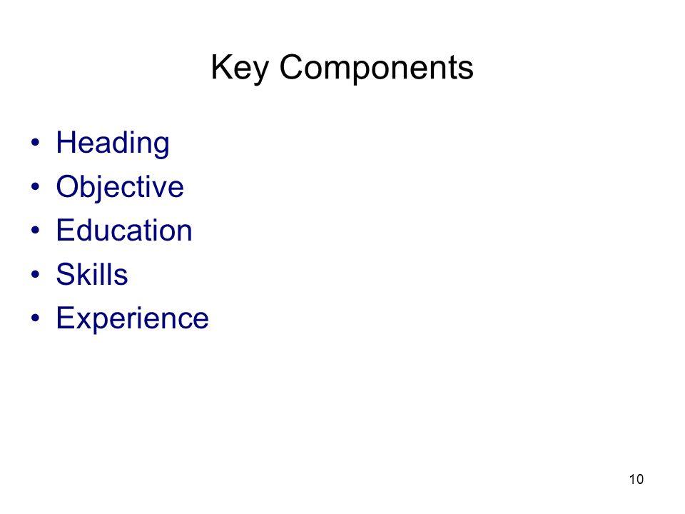 3/25/2017 Key Components Heading Objective Education Skills Experience