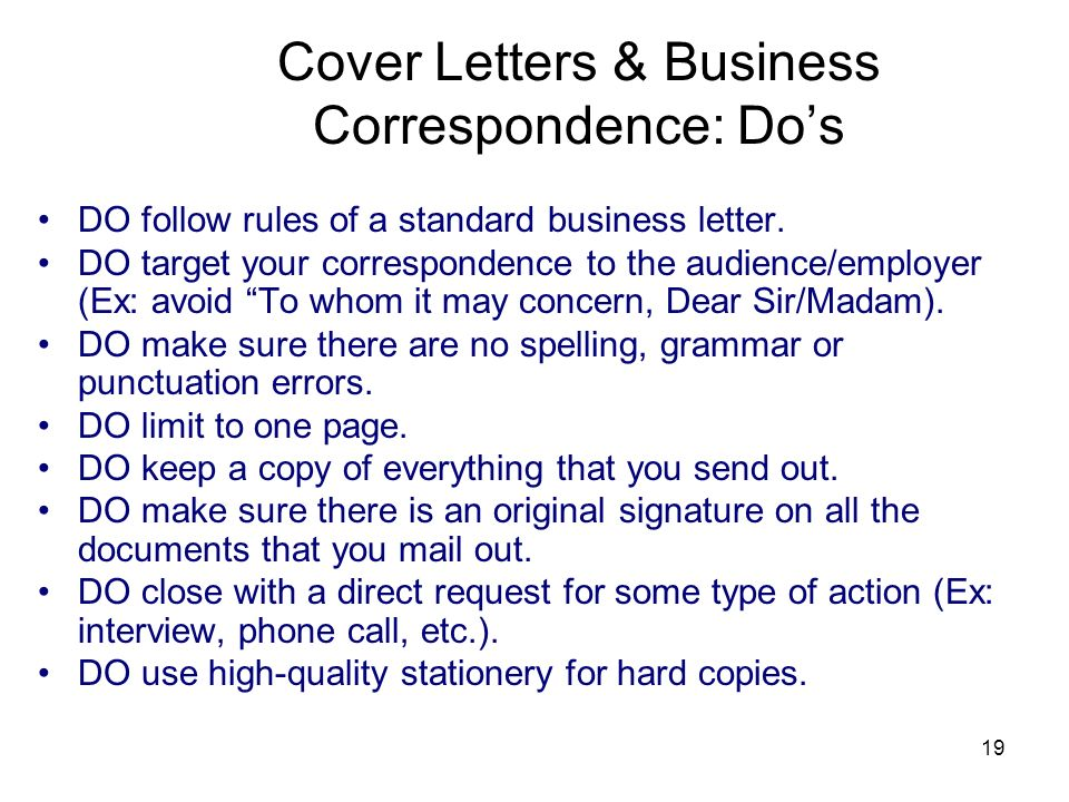 Cover Letters & Business Correspondence: Do's