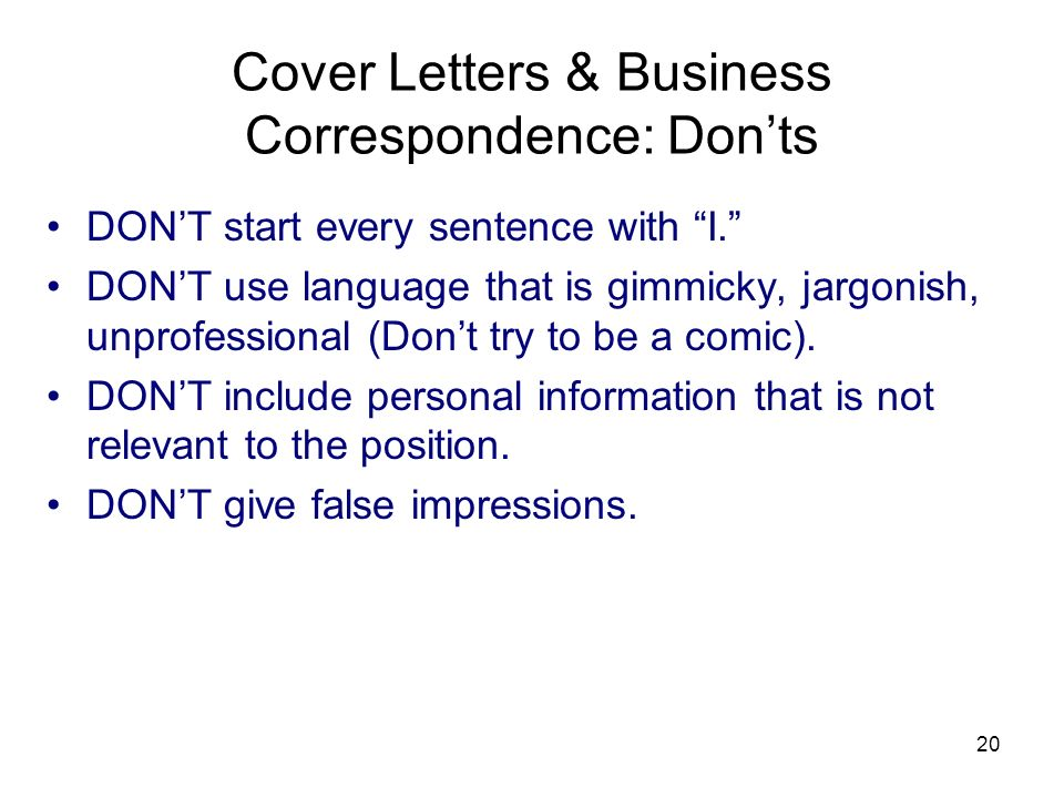 Cover Letters & Business Correspondence: Don'ts