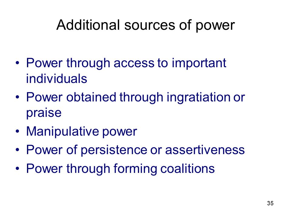 Additional sources of power