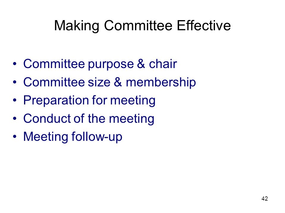 Making Committee Effective